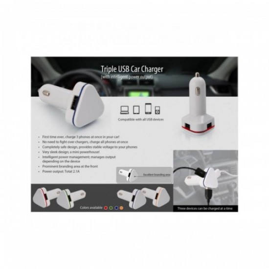 Triple USB Car Charger (with intelligent power output)